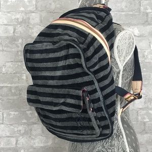 JUICY COUTURE Striped Velvet Black Gray Backpack